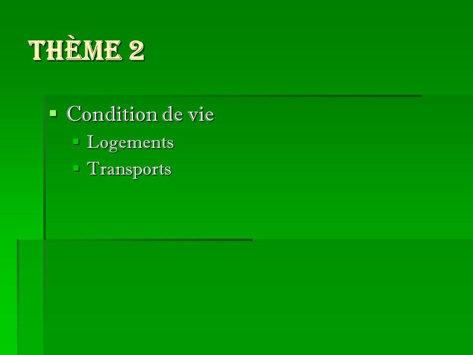 Thème 2 Condition de vie Condition de vie Logements Logements Transports Transports