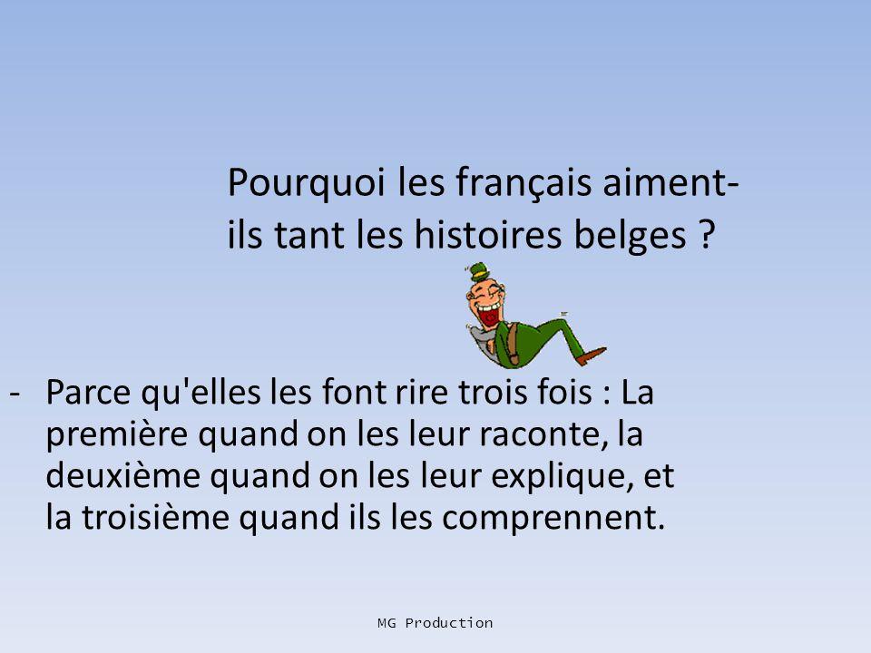MG Production Qu'est-ce qui commence par un P, finit par un N, et tombe des arbres dans le midi de la France ? -Putain, des feuilles, con.