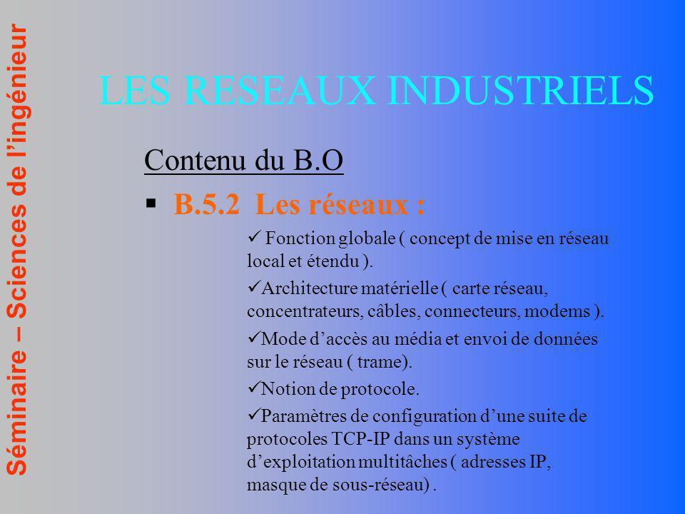 Séminaire – Sciences de lingénieur Contenu du B.O B.5.2 Les réseaux : Fonction globale ( concept de mise en réseau local et étendu ). Architecture mat