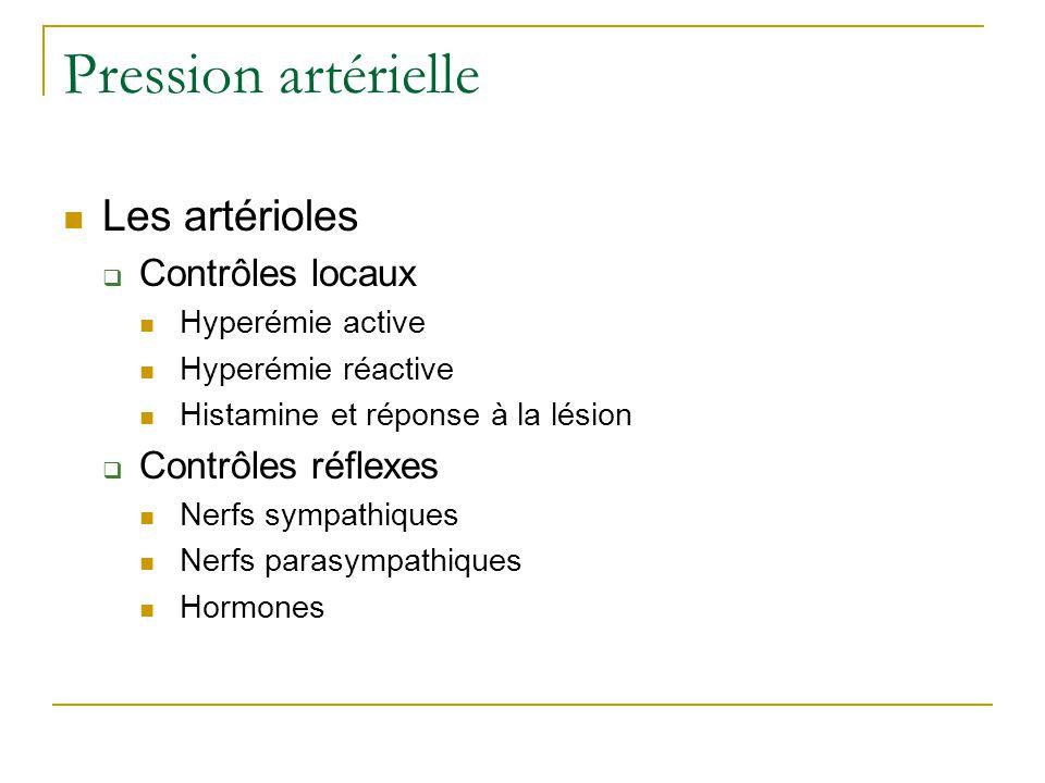 Pression artérielle Les artérioles Contrôles locaux Hyperémie active Hyperémie réactive Histamine et réponse à la lésion Contrôles réflexes Nerfs sympathiques Nerfs parasympathiques Hormones