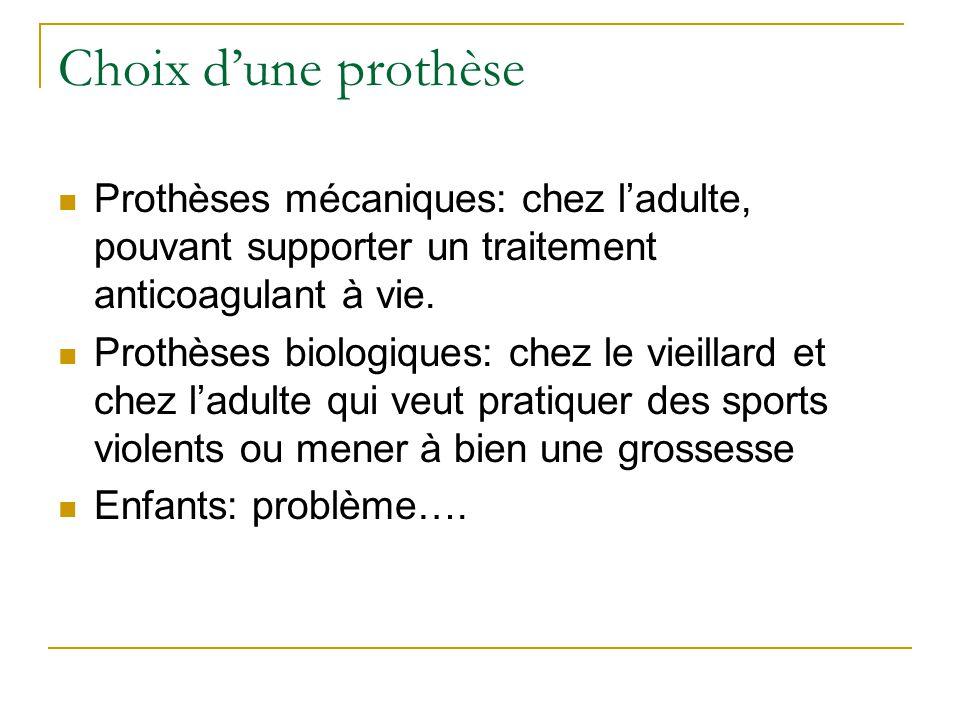 Choix dune prothèse Prothèses mécaniques: chez ladulte, pouvant supporter un traitement anticoagulant à vie.