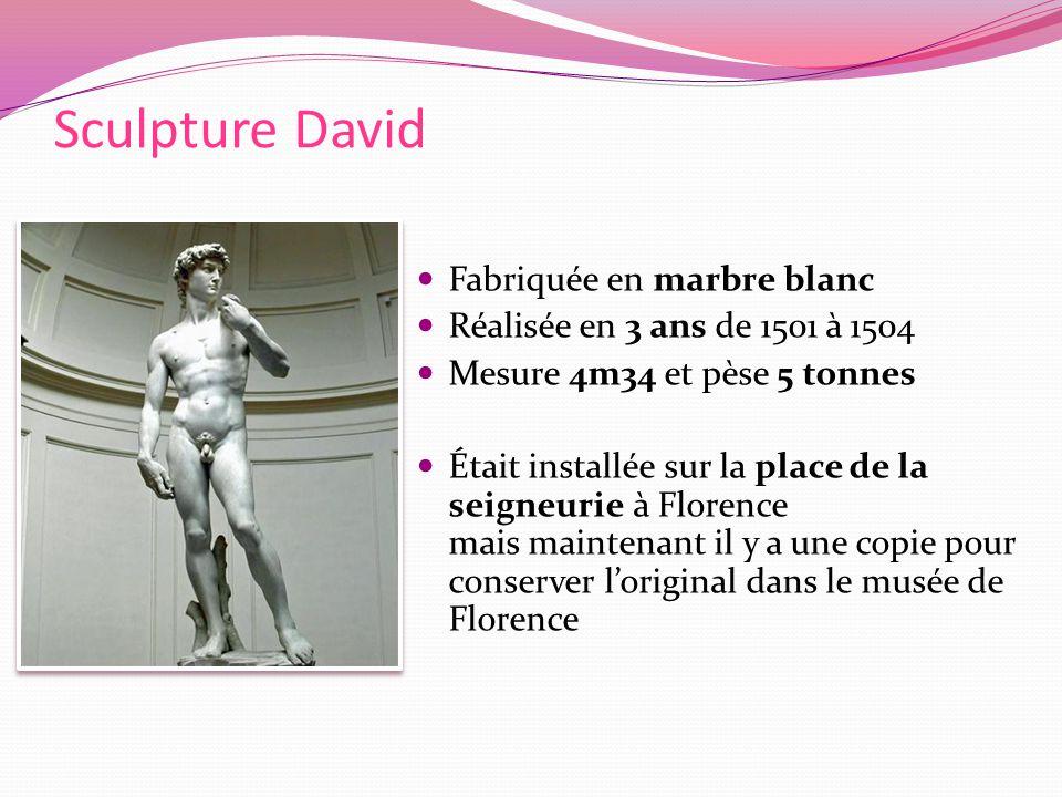 Fabriquée en marbre blanc Réalisée en 3 ans de 1501 à 1504 Mesure 4m34 et pèse 5 tonnes Était installée sur la place de la seigneurie à Florence mais maintenant il y a une copie pour conserver loriginal dans le musée de Florence Sculpture David