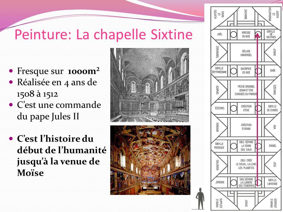 Peinture: La chapelle Sixtine Fresque sur 1000m² Réalisée en 4 ans de 1508 à 1512 Cest une commande du pape Jules II Cest lhistoire du début de lhumanité jusquà la venue de Moïse