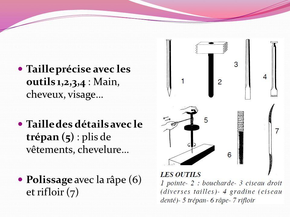 Taille précise avec les outils 1,2,3,4 : Main, cheveux, visage… Taille des détails avec le trépan (5) : plis de vêtements, chevelure… Polissage avec la râpe (6) et rifloir (7)