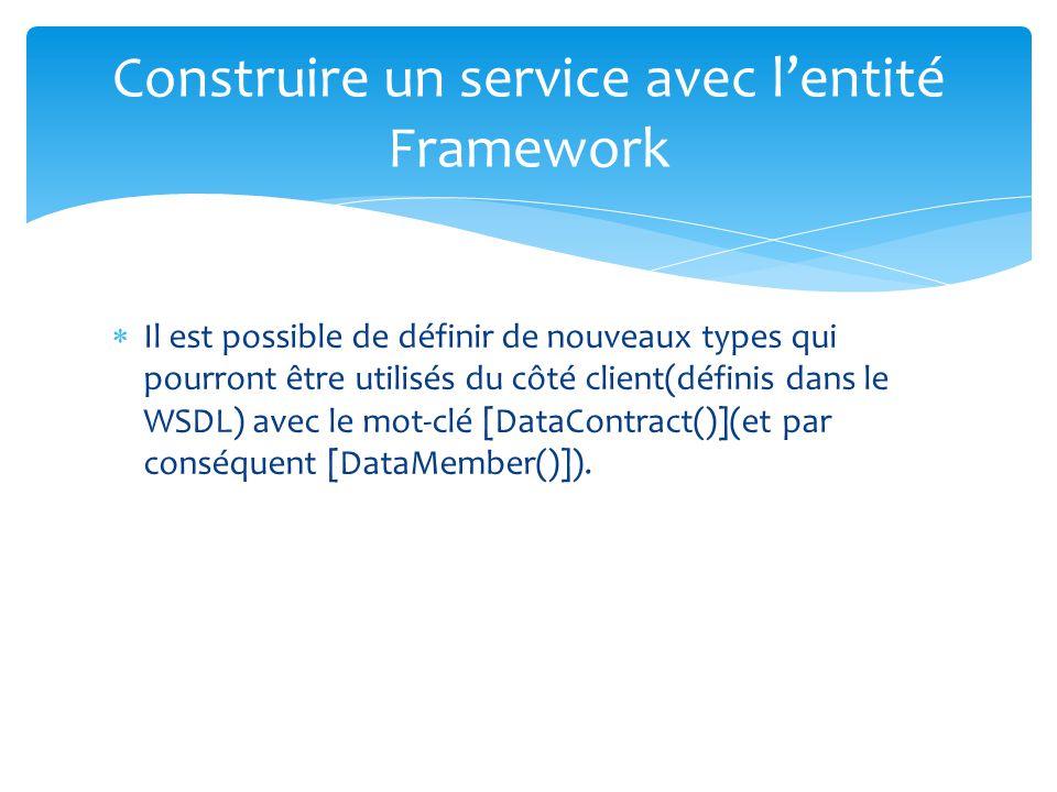 Il est possible de définir de nouveaux types qui pourront être utilisés du côté client(définis dans le WSDL) avec le mot-clé [DataContract()](et par c