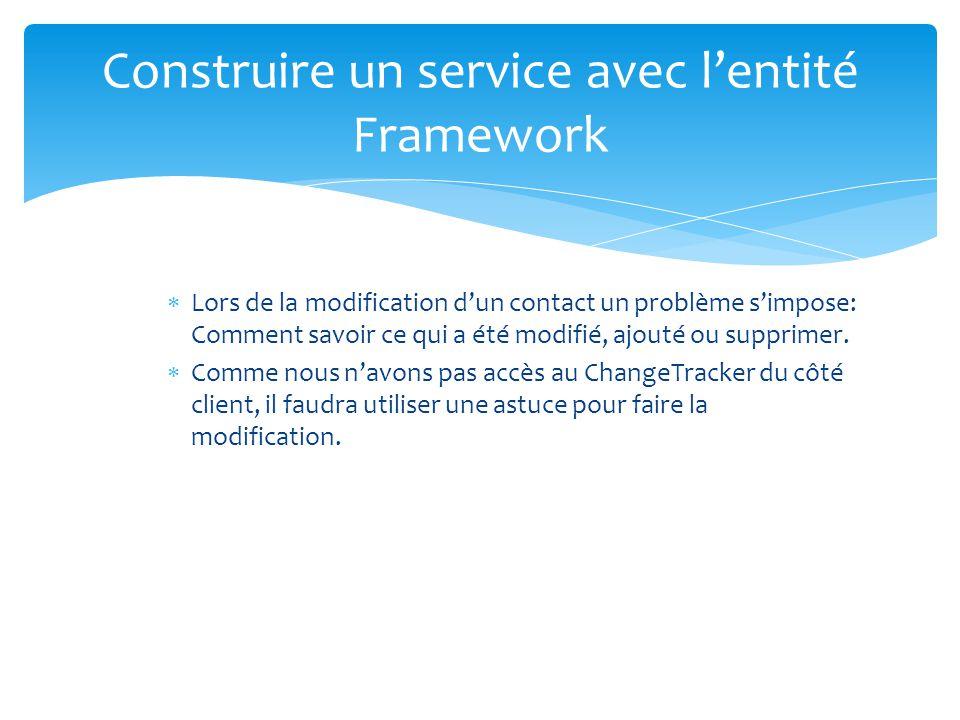 Construire un service avec lentité Framework Lors de la modification dun contact un problème simpose: Comment savoir ce qui a été modifié, ajouté ou s
