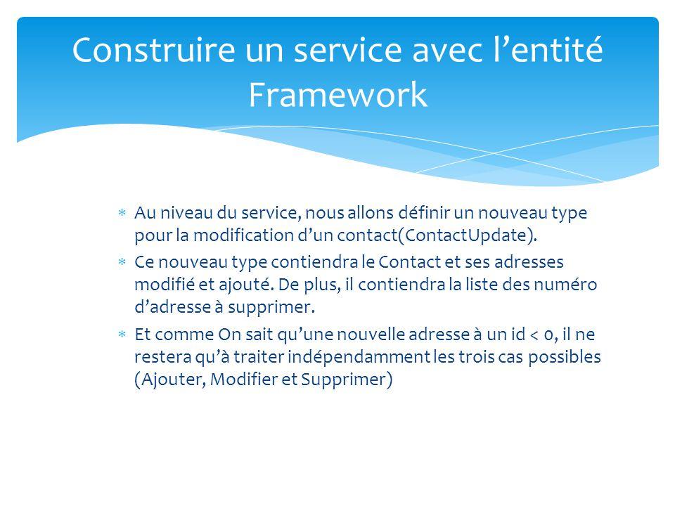 Construire un service avec lentité Framework Au niveau du service, nous allons définir un nouveau type pour la modification dun contact(ContactUpdate).