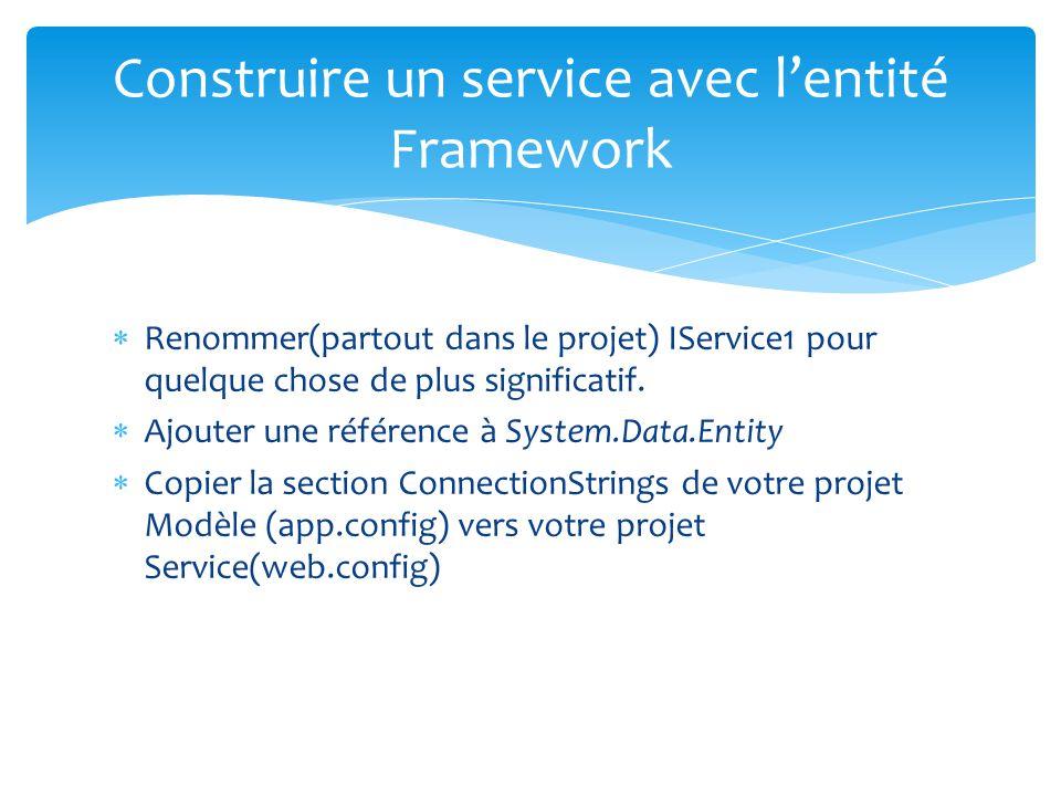 Renommer(partout dans le projet) IService1 pour quelque chose de plus significatif. Ajouter une référence à System.Data.Entity Copier la section Conne