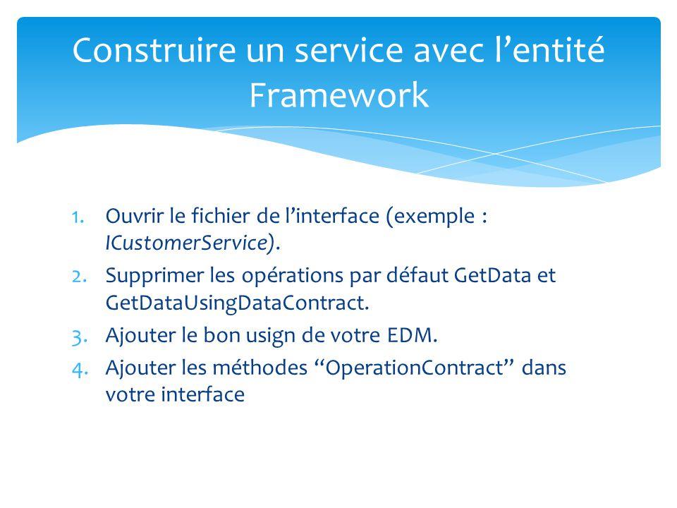 1.Ouvrir le fichier de linterface (exemple : ICustomerService). 2.Supprimer les opérations par défaut GetData et GetDataUsingDataContract. 3.Ajouter l