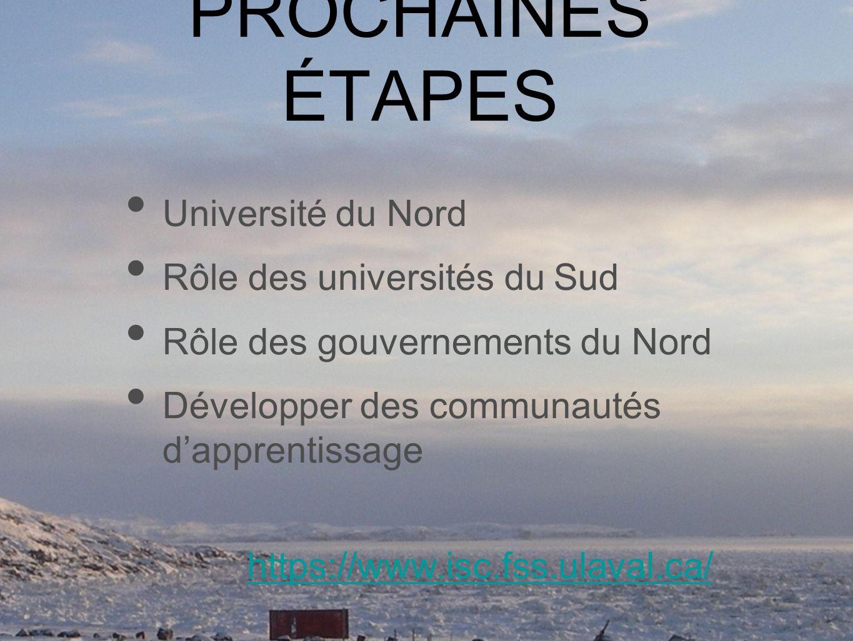 PROCHAINES ÉTAPES Université du Nord Rôle des universités du Sud Rôle des gouvernements du Nord Développer des communautés dapprentissage https://www.isc.fss.ulaval.ca/