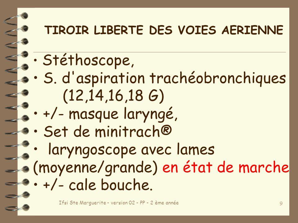 Ifsi Ste Marguerite - version 02 - PP - 2 ème année 9 TIROIR LIBERTE DES VOIES AERIENNE Stéthoscope, S.