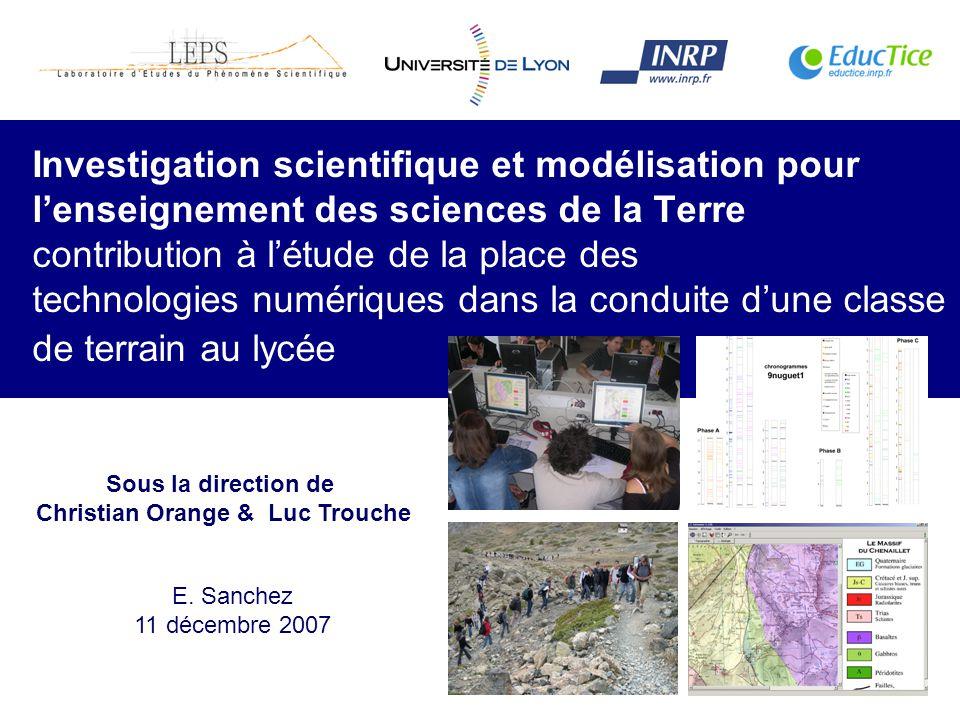 1 Investigation scientifique et modélisation pour lenseignement des sciences de la Terre contribution à létude de la place des technologies numériques