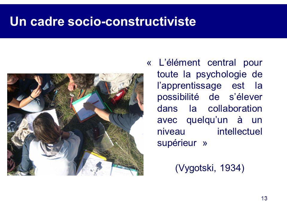 13 Un cadre socio-constructiviste « Lélément central pour toute la psychologie de lapprentissage est la possibilité de sélever dans la collaboration a
