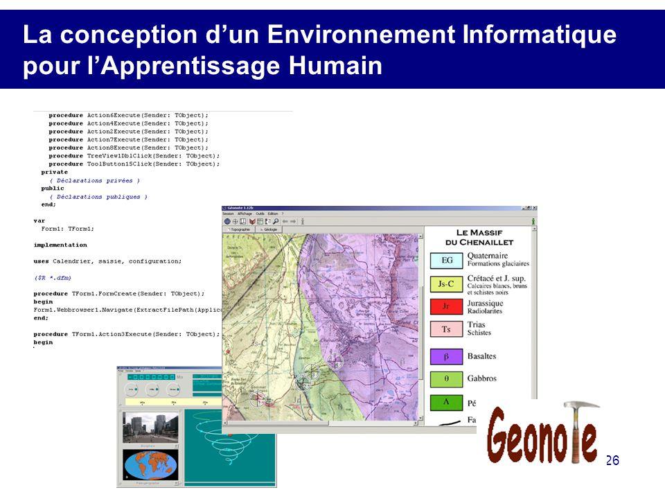 26 La conception dun Environnement Informatique pour lApprentissage Humain