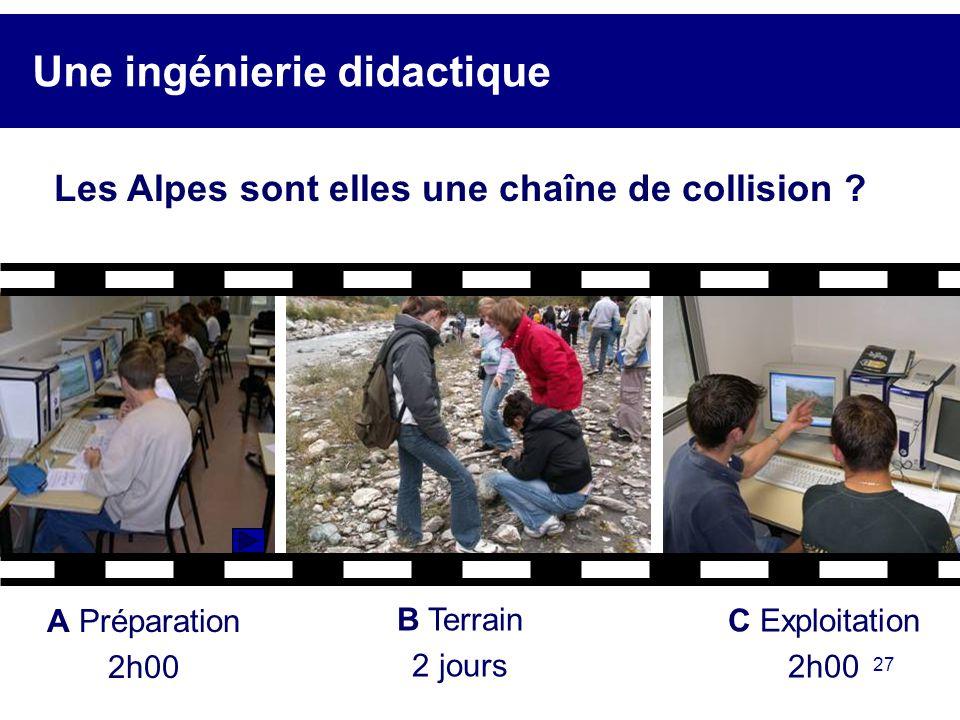 27 Une ingénierie didactique A Préparation 2h00 B Terrain 2 jours C Exploitation 2h00 Les Alpes sont elles une chaîne de collision ?