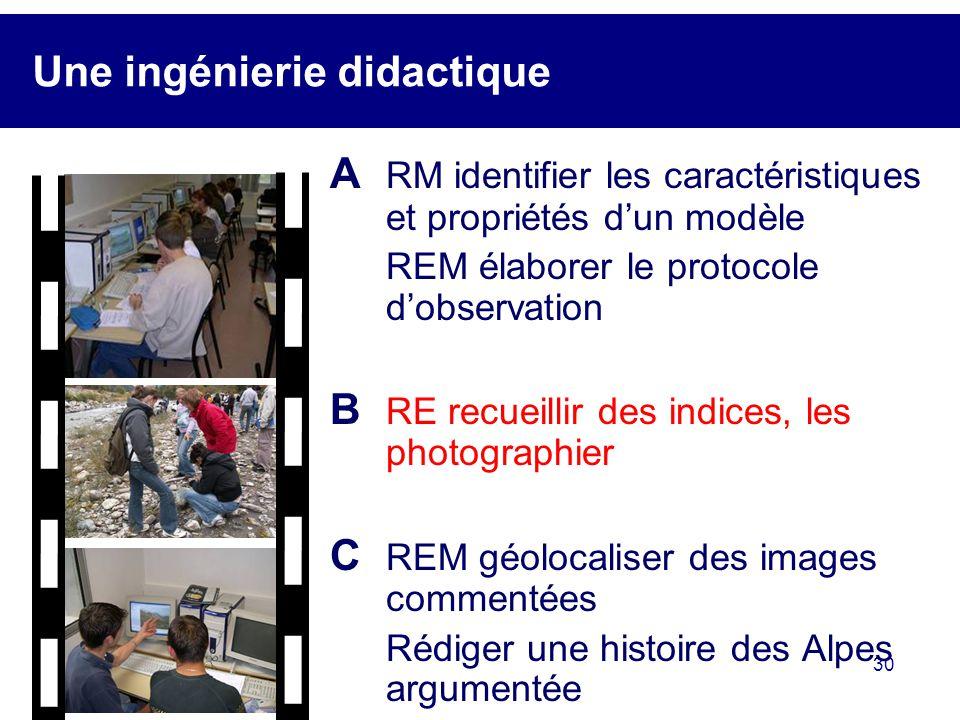 30 Une ingénierie didactique A RM identifier les caractéristiques et propriétés dun modèle REM élaborer le protocole dobservation B RE recueillir des