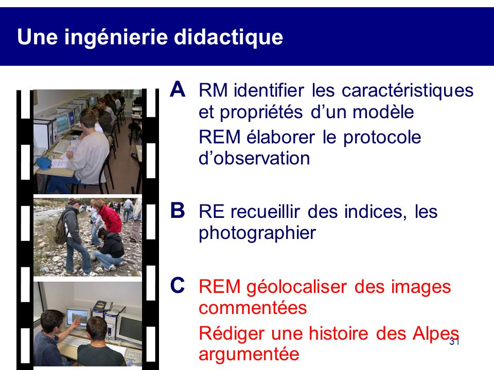 31 Une ingénierie didactique A RM identifier les caractéristiques et propriétés dun modèle REM élaborer le protocole dobservation B RE recueillir des