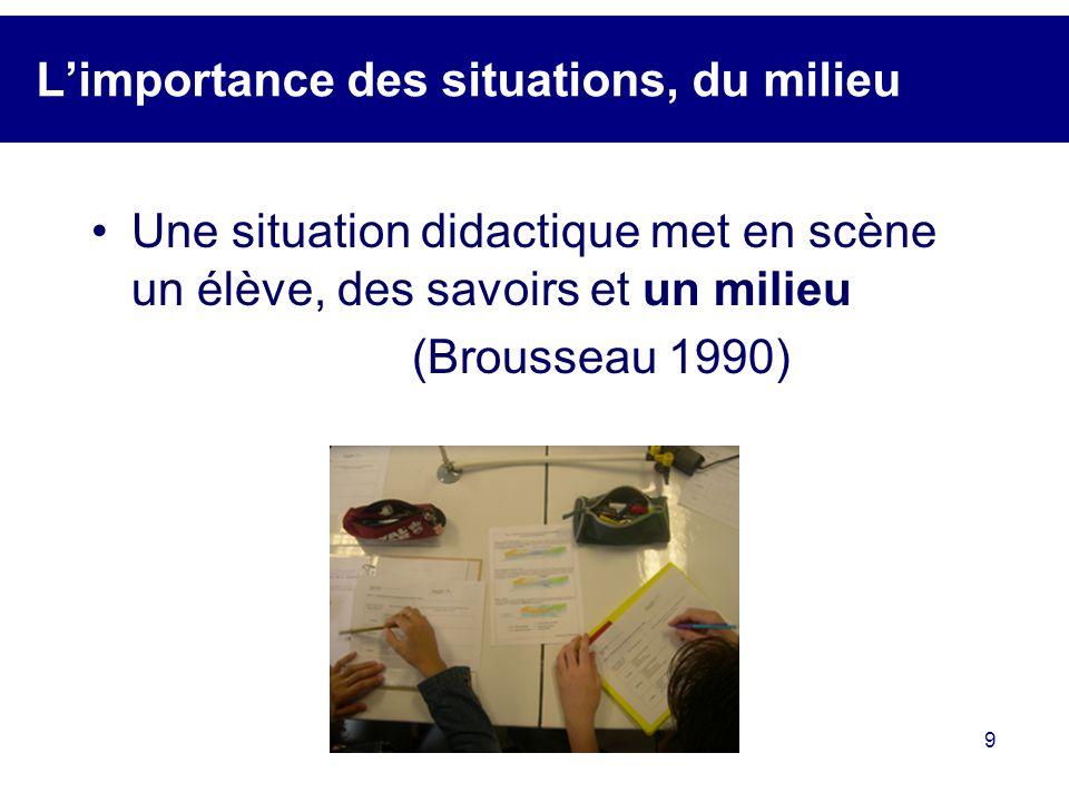 9 Limportance des situations, du milieu Une situation didactique met en scène un élève, des savoirs et un milieu (Brousseau 1990)