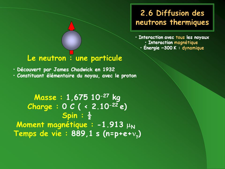 Le neutron : une onde Vecteur donde : Moment : Énergie : 100 1000 10.000 v(m/s) 4 0,4 0,04 (nm) 0,05 5 500 (meV) [nm]= 0.90466{E[meV]} -1/2 300 K (k B T) 25.8 meV 6.25 THz 208.5 cm -1 Froids Thermiques Chauds Petits angles Inélastique phonons Grands Q