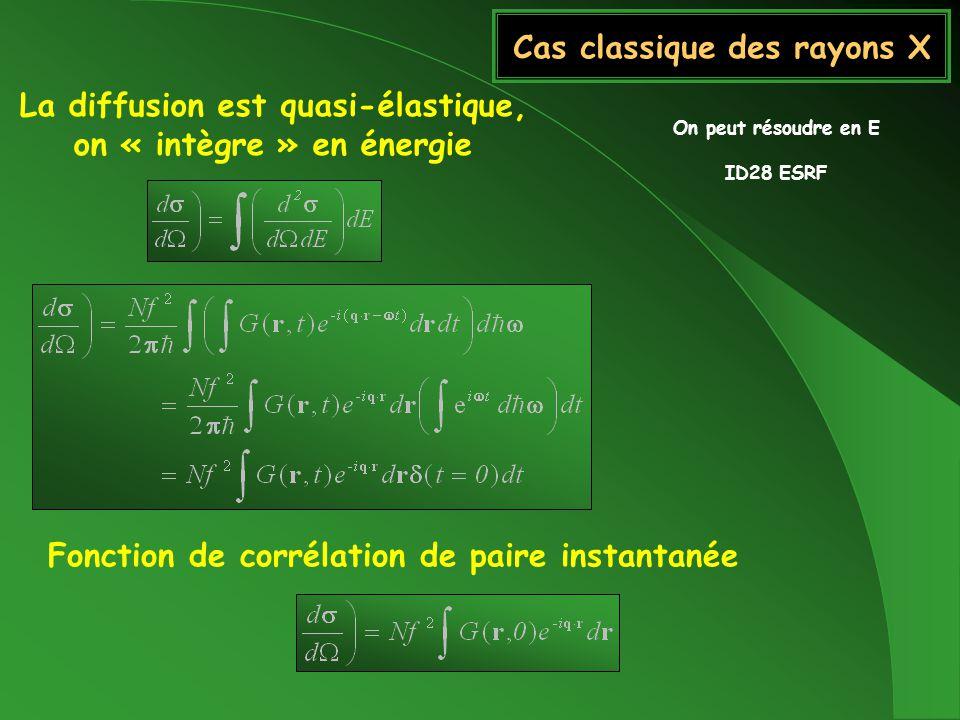 Cas classique des rayons X La diffusion est quasi-élastique, on « intègre » en énergie Fonction de corrélation de paire instantanée On peut résoudre e