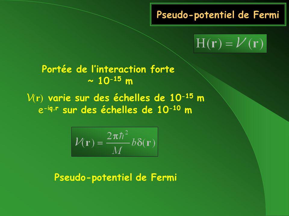 Pseudo-potentiel de Fermi Portée de linteraction forte ~ 10 -15 m V (r) varie sur des échelles de 10 -15 m e -iq.r sur des échelles de 10 -10 m Pseudo