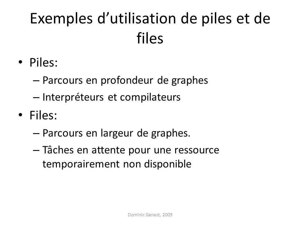 Exemples dutilisation de piles et de files Piles: – Parcours en profondeur de graphes – Interpréteurs et compilateurs Files: – Parcours en largeur de graphes.