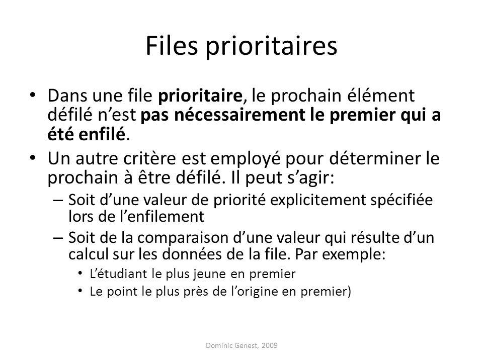 Files prioritaires Dans une file prioritaire, le prochain élément défilé nest pas nécessairement le premier qui a été enfilé. Un autre critère est emp