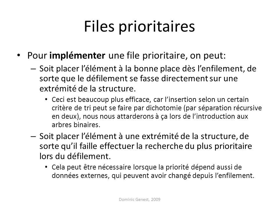 Files prioritaires Pour implémenter une file prioritaire, on peut: – Soit placer lélément à la bonne place dès lenfilement, de sorte que le défilement se fasse directement sur une extrémité de la structure.