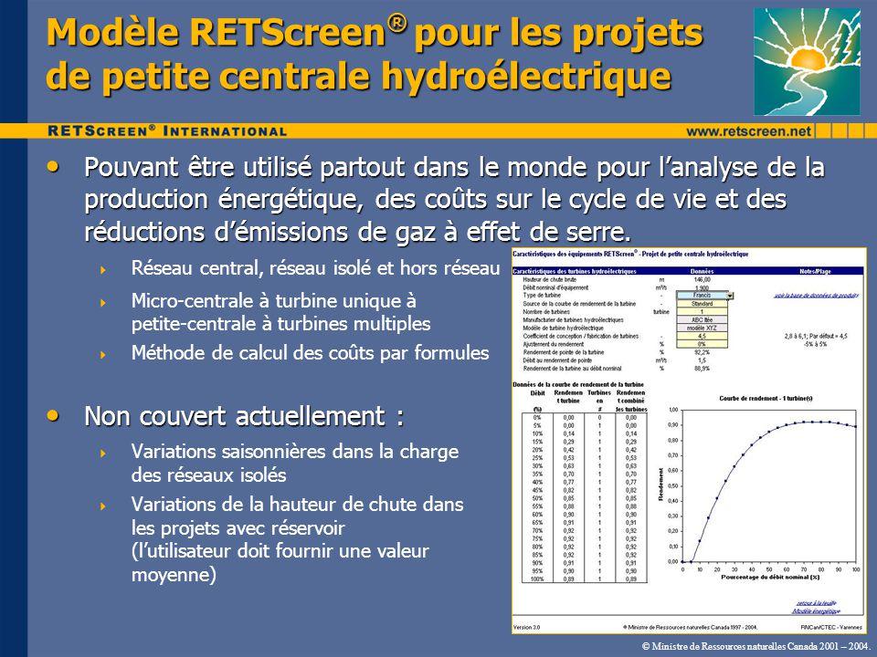 Modèle RETScreen ® pour les projets de petite centrale hydroélectrique Pouvant être utilisé partout dans le monde pour lanalyse de la production énergétique, des coûts sur le cycle de vie et des réductions démissions de gaz à effet de serre.