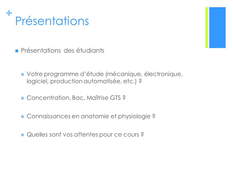 + Présentations Présentations des étudiants Votre programme détude (mécanique, électronique, logiciel, production automatisée, etc.) .
