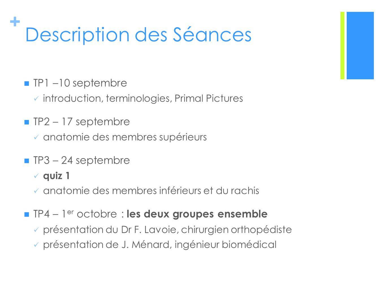 + Description des Séances TP1 –10 septembre introduction, terminologies, Primal Pictures TP2 – 17 septembre anatomie des membres supérieurs TP3 – 24 septembre quiz 1 anatomie des membres inférieurs et du rachis TP4 – 1 er octobre : les deux groupes ensemble présentation du Dr F.