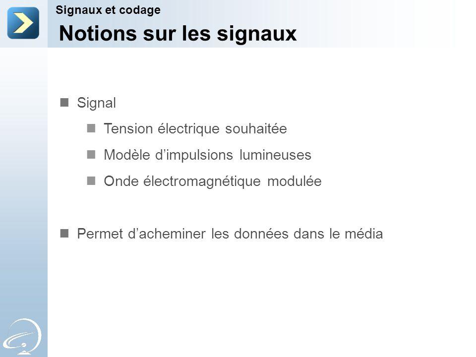 Notions sur les signaux Signaux et codage Signal Tension électrique souhaitée Modèle dimpulsions lumineuses Onde électromagnétique modulée Permet dach