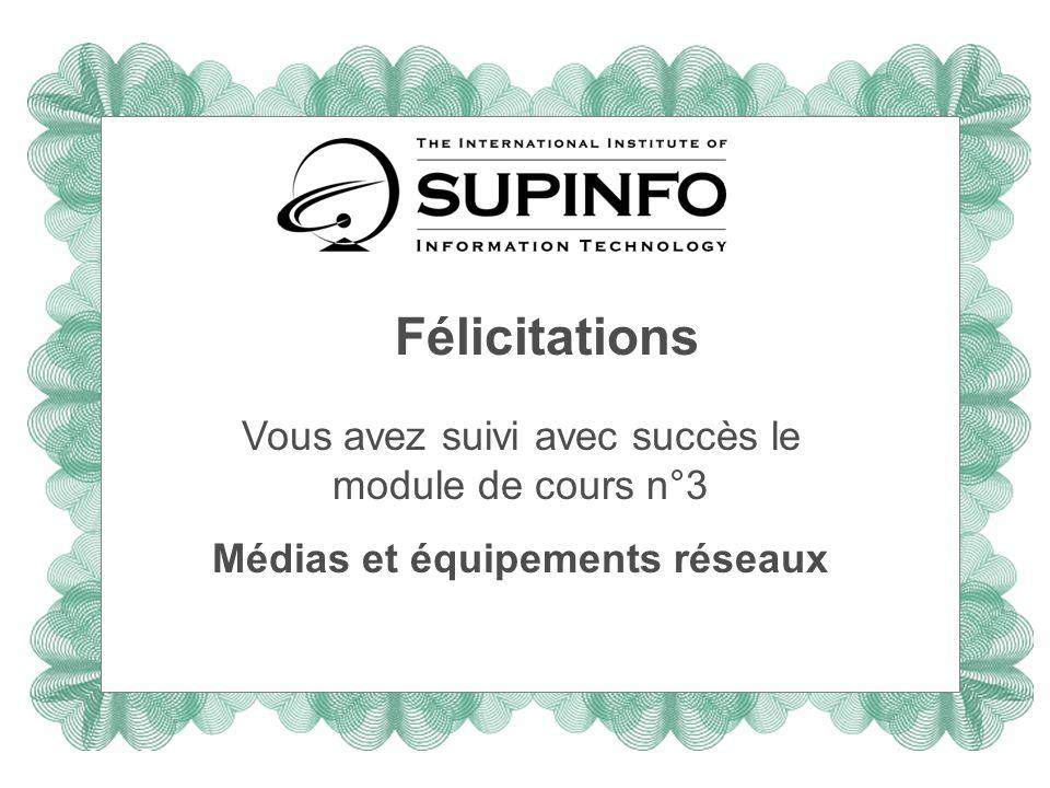 Félicitations Vous avez suivi avec succès le module de cours n°3 Médias et équipements réseaux