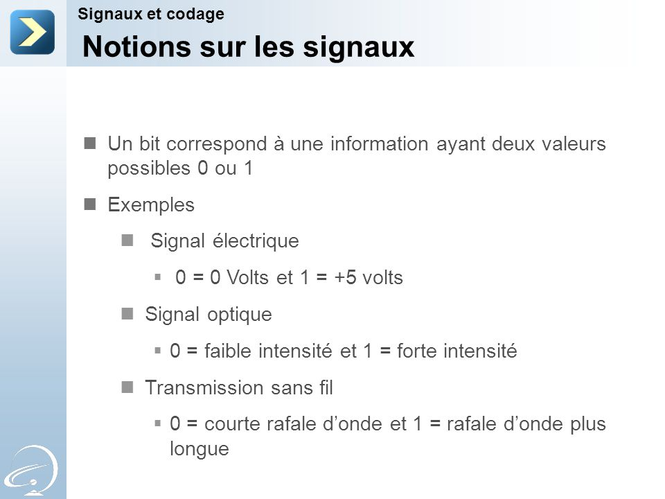 Notions sur les signaux Signaux et codage Un bit correspond à une information ayant deux valeurs possibles 0 ou 1 Exemples Signal électrique 0 = 0 Vol