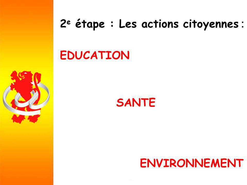 2 e étape : Les actions citoyennes : EDUCATION SANTE ENVIRONNEMENT