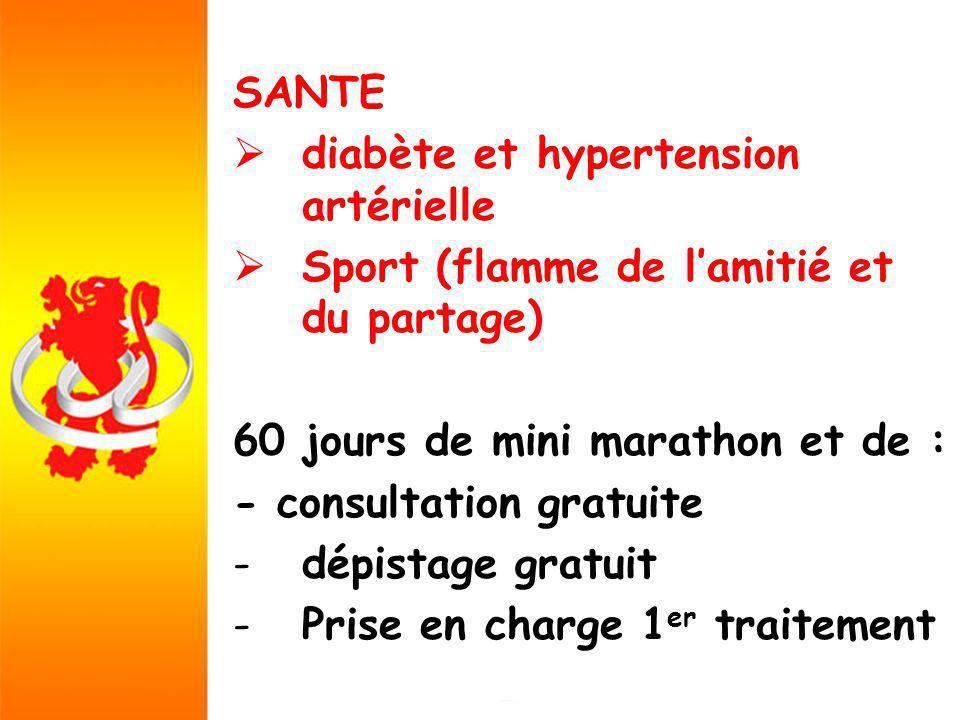 SANTE diabète et hypertension artérielle Sport (flamme de lamitié et du partage) 60 jours de mini marathon et de : - consultation gratuite -dépistage gratuit -Prise en charge 1 er traitement
