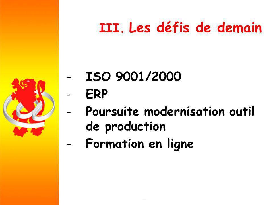 III. Les défis de demain -ISO 9001/2000 -ERP -Poursuite modernisation outil de production -Formation en ligne