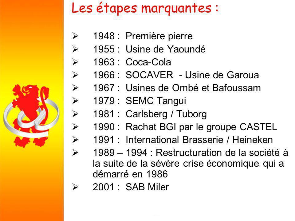 Les étapes marquantes : 1948 : Première pierre 1955 : Usine de Yaoundé 1963 : Coca-Cola 1966 : SOCAVER - Usine de Garoua 1967 : Usines de Ombé et Bafoussam 1979 : SEMC Tangui 1981 : Carlsberg / Tuborg 1990 : Rachat BGI par le groupe CASTEL 1991 : International Brasserie / Heineken 1989 – 1994 : Restructuration de la société à la suite de la sévère crise économique qui a démarré en 1986 2001 : SAB Miler