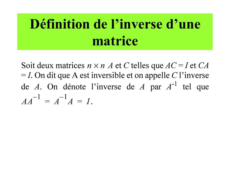 Définition de linverse dune matrice