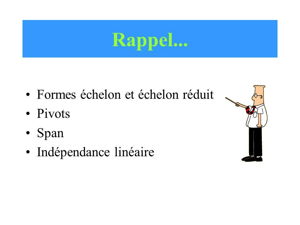 Rappel... Formes échelon et échelon réduit Pivots Span Indépendance linéaire