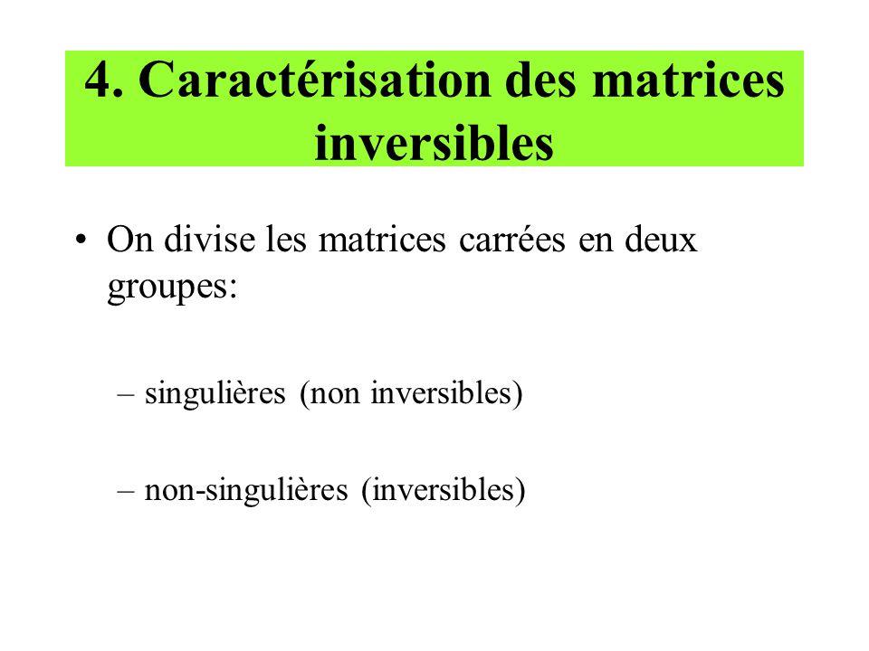 4. Caractérisation des matrices inversibles On divise les matrices carrées en deux groupes: –singulières (non inversibles) –non-singulières (inversibl