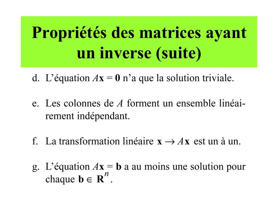 Propriétés des matrices ayant un inverse (suite)