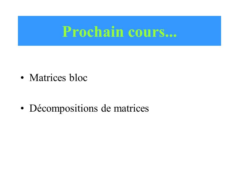 Prochain cours... Matrices bloc Décompositions de matrices