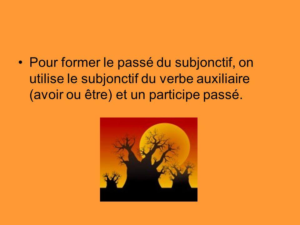Pour former le passé du subjonctif, on utilise le subjonctif du verbe auxiliaire (avoir ou être) et un participe passé.