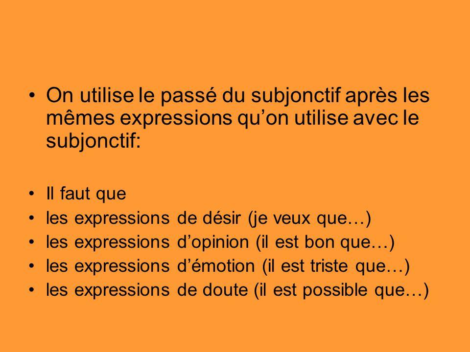 On utilise le passé du subjonctif après les mêmes expressions quon utilise avec le subjonctif: Il faut que les expressions de désir (je veux que…) les expressions dopinion (il est bon que…) les expressions démotion (il est triste que…) les expressions de doute (il est possible que…)