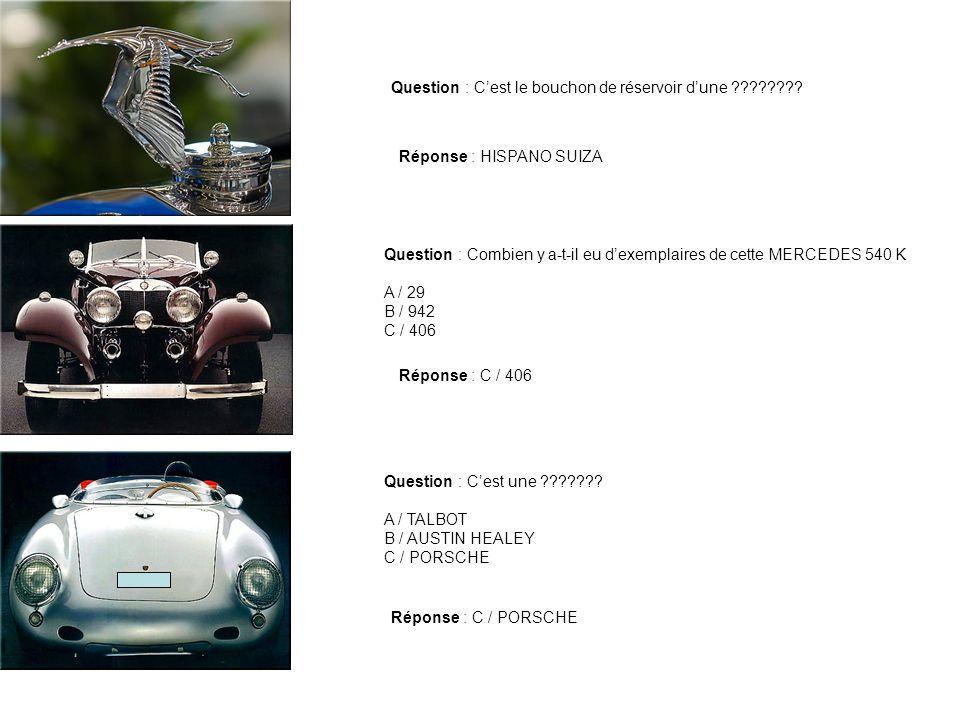 Question : Quel est le prix de cette MERCEDES CLK GTR vendue à 22 exemplaires A / Entre 500 000 et 750 000 B / Entre 750 000 et 2 000 000 C / entre 2 000 000 et 2 300 000 Réponse : C / entre 2 000 000 et 2 300 000 Charade Mon premier nous a été donné à la naissance Mon deuxième nest pas VE ni VI ni VO ni VU ni VY Mon troisième est : X - VI Mon tout cest une cette voiture Réponse : RENAULT VIVAQUATRE Question : Quelle est la motorisation de cette DAIMLER DOUBLE SIX 40/50 .