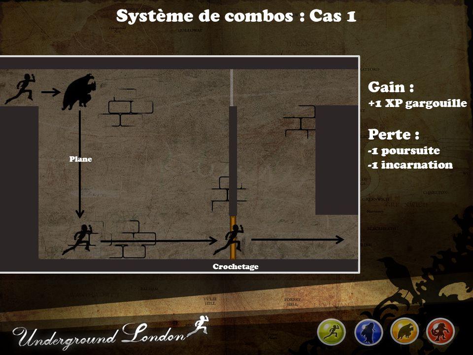 Système de combos : Cas 1 Crochetage Plane Gain : +1 XP gargouille Perte : -1 poursuite -1 incarnation
