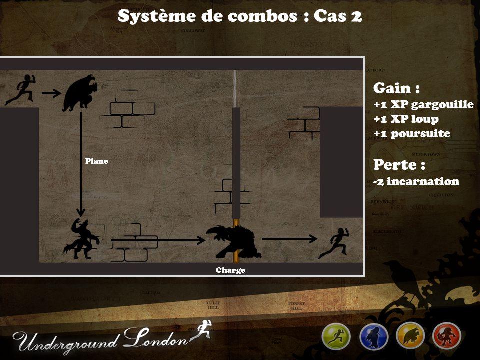 Système de combos : Cas 2 Charge Gain : +1 XP gargouille +1 XP loup +1 poursuite Perte : -2 incarnation Plane
