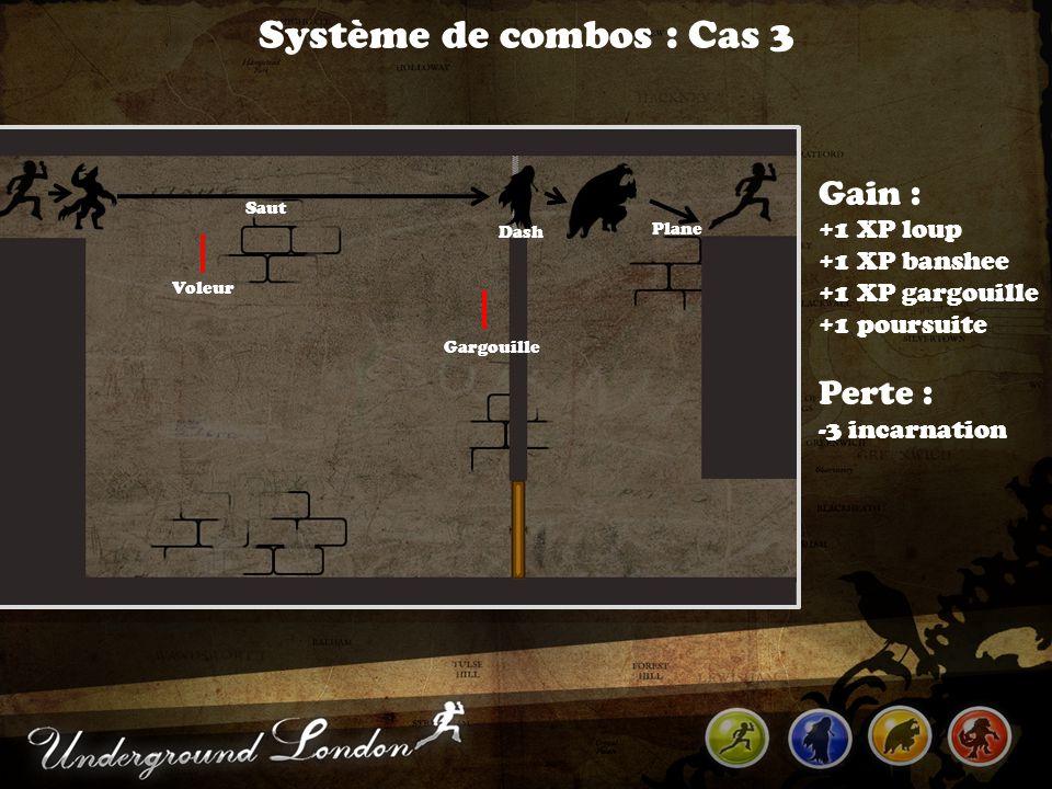 Système de combos : Cas 3 Voleur Gargouille Dash Gain : +1 XP loup +1 XP banshee +1 XP gargouille +1 poursuite Perte : -3 incarnation Plane Saut