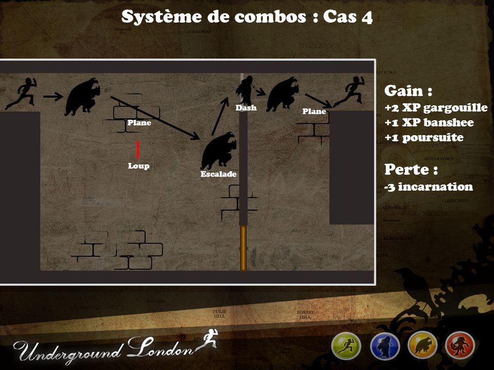 Système de combos : Cas 4 Escalade Gain : +2 XP gargouille +1 XP banshee +1 poursuite Perte : -3 incarnation Plane Dash Loup